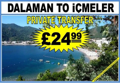 How much does a taxi cost from Dalaman Airport to İçmeler