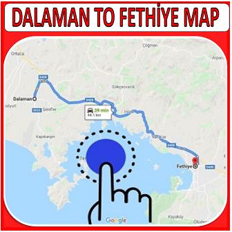 Dalaman to Fethiye Map